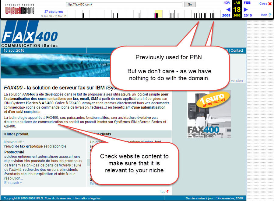 Fax400.com Wayback Archive Screenshot