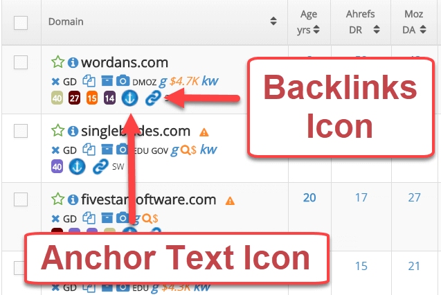 Majestic Anchor Text & Backlinks